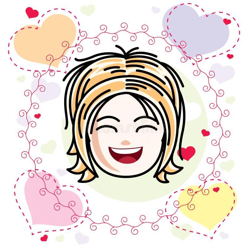 Καυκάσιο πρόσωπο κοριτσιών τύπων που εκφράζει τις θετικές συγκινήσεις, διανυσματική HU απεικόνιση αποθεμάτων