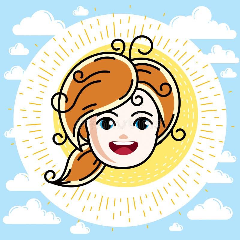 Καυκάσιο πρόσωπο κοριτσιών τύπων που εκφράζει τις θετικές συγκινήσεις, διανυσματική HU διανυσματική απεικόνιση