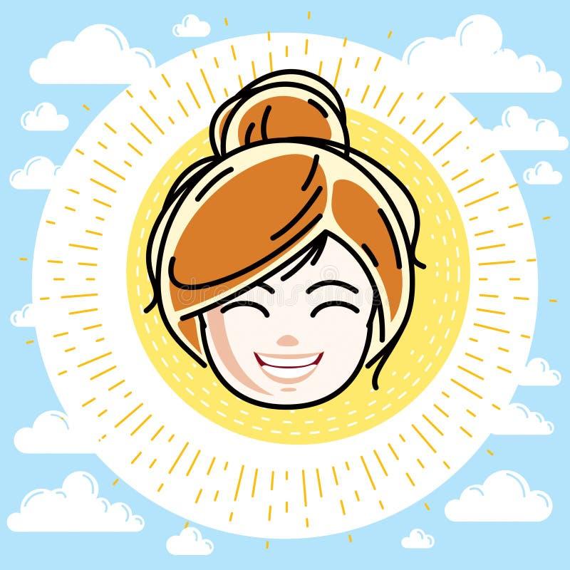 Καυκάσιο πρόσωπο κοριτσιών τύπων που εκφράζει τις θετικές συγκινήσεις, διανυσματική ανθρώπινη επικεφαλής απεικόνιση Όμορφο redhea διανυσματική απεικόνιση