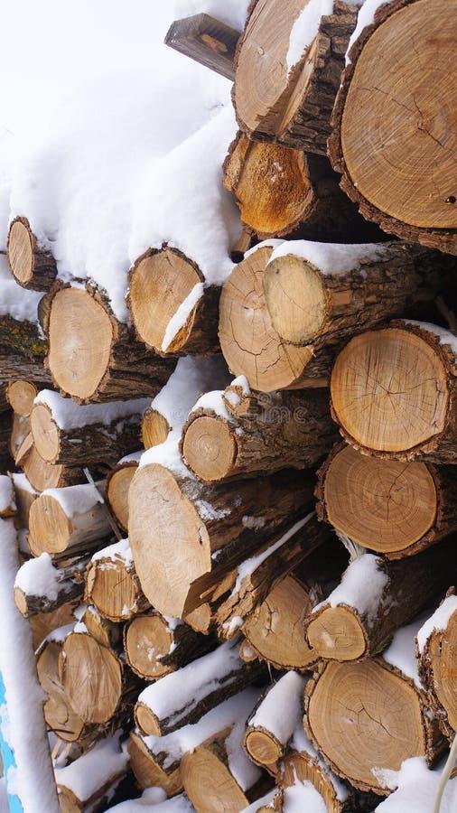 Καυσόξυλο στο χιόνι, που πέφτουν στο χιόνι στοκ φωτογραφία με δικαίωμα ελεύθερης χρήσης