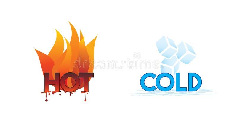 Καυτά και εικονίδια κρύου ή πυρκαγιάς και πάγου διανυσματική απεικόνιση