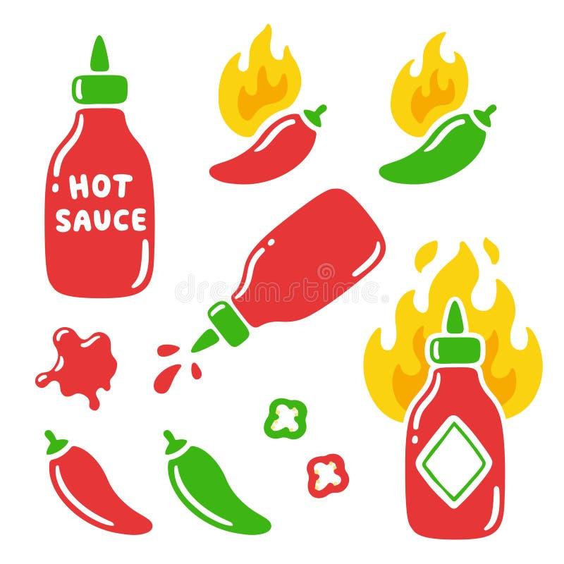 Καυτά πιπέρια σάλτσας και τσίλι διανυσματική απεικόνιση
