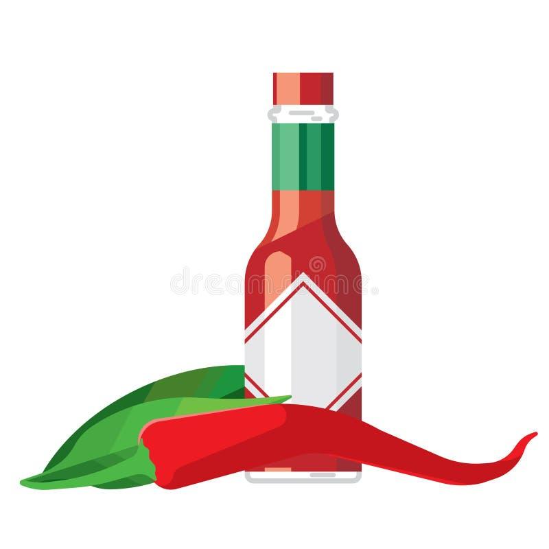 Καυτά πιπέρι τσίλι και μπουκάλι γυαλιού σάλτσας ελεύθερη απεικόνιση δικαιώματος