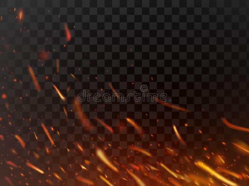 Καυτά φλογερά σπινθηρίσματα κινηματογραφήσεων σε πρώτο πλάνο και μόρια φλογών που απομονώνονται Σπινθήρες πυρκαγιάς κόλασης και φ ελεύθερη απεικόνιση δικαιώματος