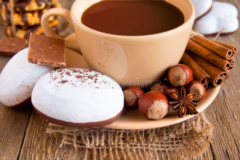 Καυτά chokolate, κανέλα, καρύδια και γλυκάνισο στοκ εικόνα με δικαίωμα ελεύθερης χρήσης