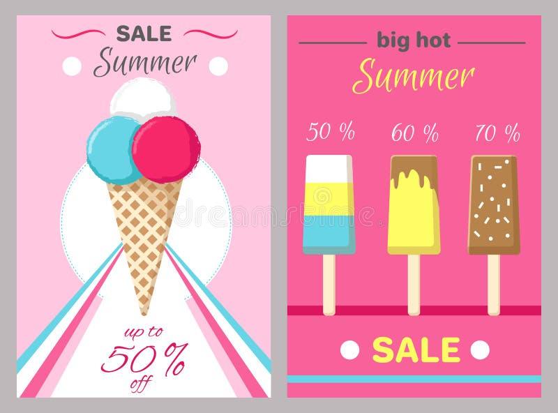 Καυτές αφίσες που τίθενται θερινές με το διάνυσμα παγωτού ελεύθερη απεικόνιση δικαιώματος