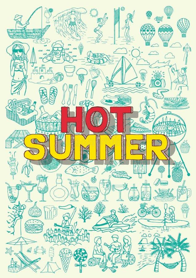 Καυτές θερινές δραστηριότητες doodles όπως την αλιεία, σφαίρα κοιλάδων παραλιών, BBQ κόμμα, γιορτή μπαλονιών ζεστού αέρα, κατάδυσ απεικόνιση αποθεμάτων