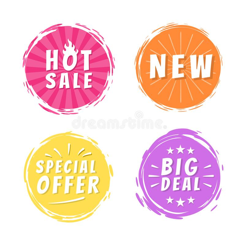 Καυτές πώλησης νέες αυτοκόλλητες ετικέττες Promo προσφοράς μεγάλης υπόθεσης ειδικές διανυσματική απεικόνιση