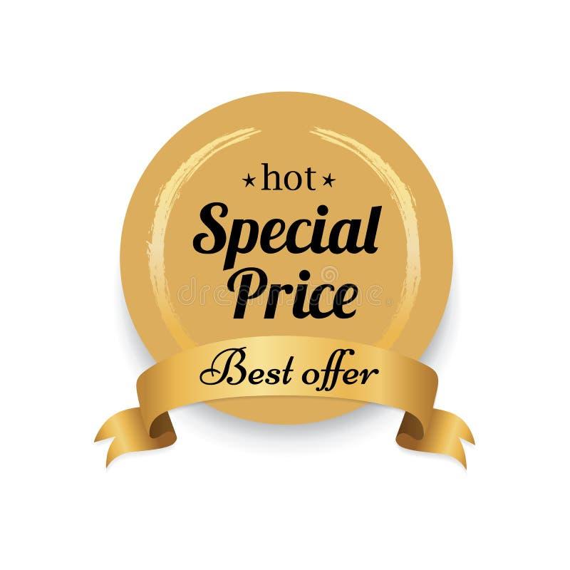 Καυτή ειδική τιμών χρυσή πρόταση προσφοράς ετικετών καλύτερη ελεύθερη απεικόνιση δικαιώματος