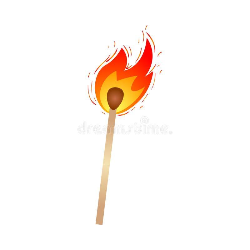 Καυτή καίγοντας ξύλινη αντιστοιχία πυρκαγιάς, για τη στρατοπέδευση, χρήση πεζοπορίας διανυσματική απεικόνιση