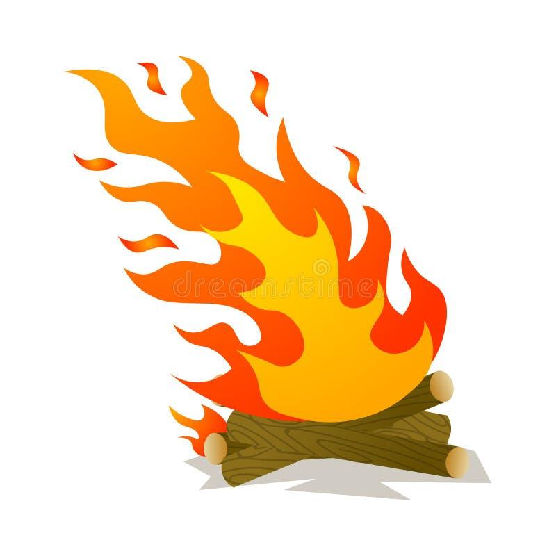 Καυτή καίγοντας πυρά προσκόπων κάτω από τον αέρα δύναμης στο δάσος ελεύθερη απεικόνιση δικαιώματος