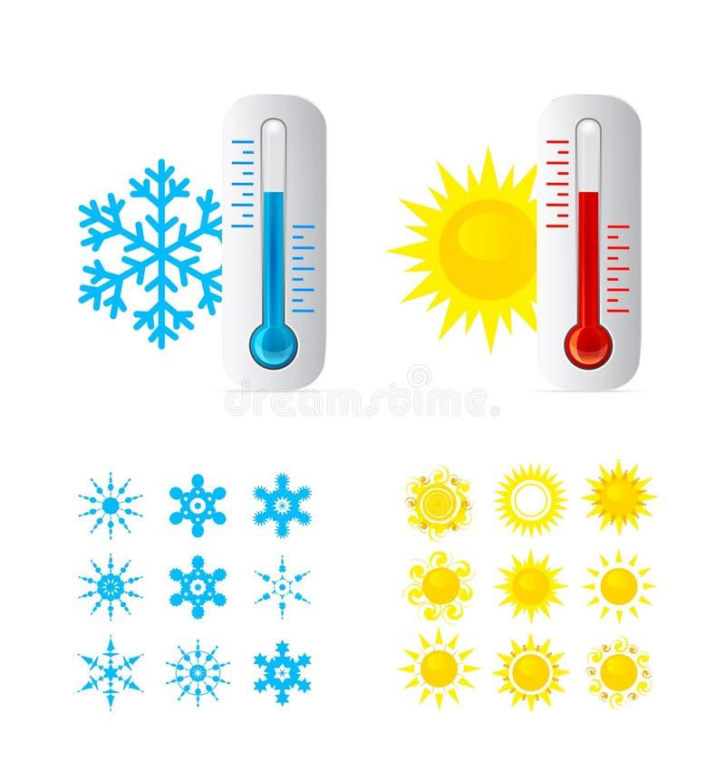 Καυτή και κρύα θερμοκρασία θερμομέτρων απεικόνιση αποθεμάτων