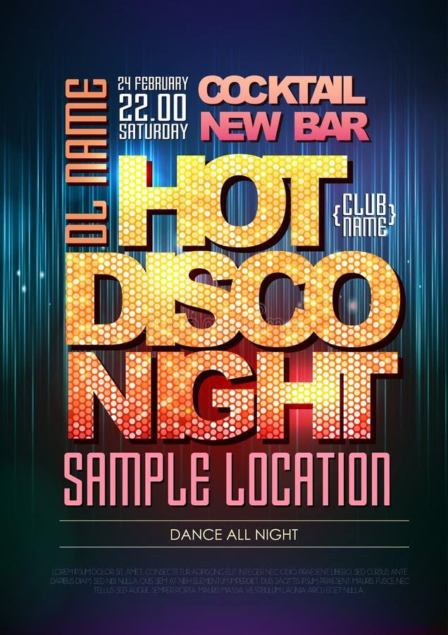 Καυτή νύχτα αφισών Disco τυπογραφίας απεικόνιση αποθεμάτων