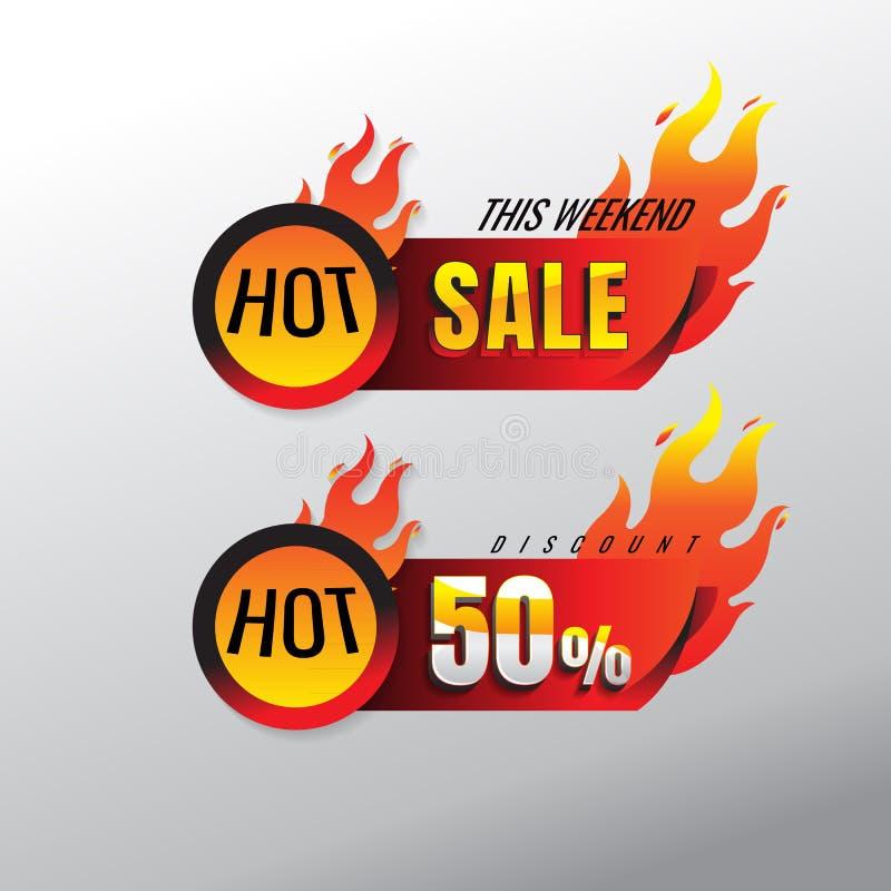 Καυτή πώληση και ειδικό έμβλημα προσφοράς, ετικέττες πωλήσεων, ετικέτα πωλήσεων Crea απεικόνιση αποθεμάτων