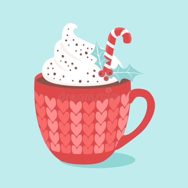 Καυτή σοκολάτα Χριστουγέννων με τον κάλαμο κρέμας και καραμελών διάνυσμα διανυσματική απεικόνιση