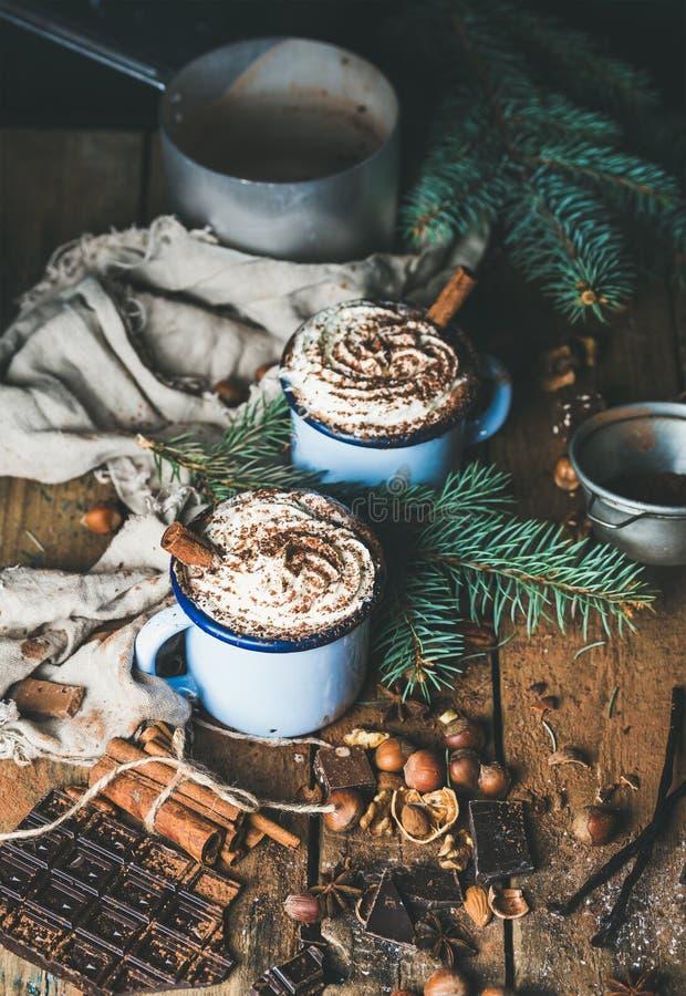 Καυτή σοκολάτα με την κτυπημένα κρέμα, τα καρύδια, τα καρυκεύματα και fir-tree τους κλάδους στοκ εικόνες με δικαίωμα ελεύθερης χρήσης
