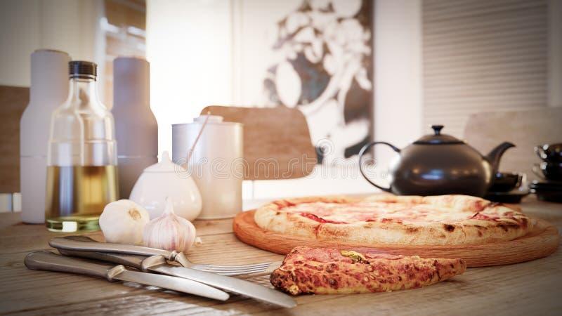Καυτή φέτα πιτσών με το λειώνοντας τυρί σε έναν αγροτικό ξύλινο πίνακα στοκ εικόνα