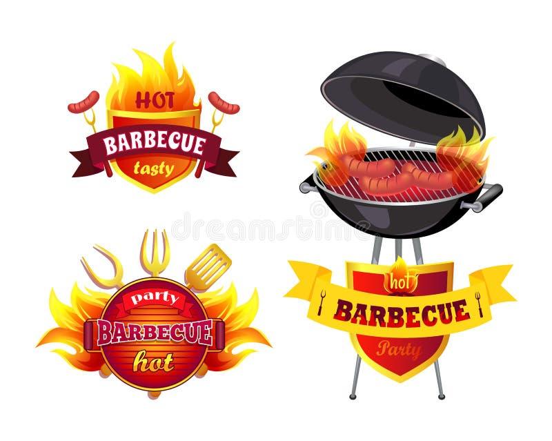 Καυτή BBQ νόστιμη καθορισμένη διανυσματική απεικόνιση σχαρών απεικόνιση αποθεμάτων