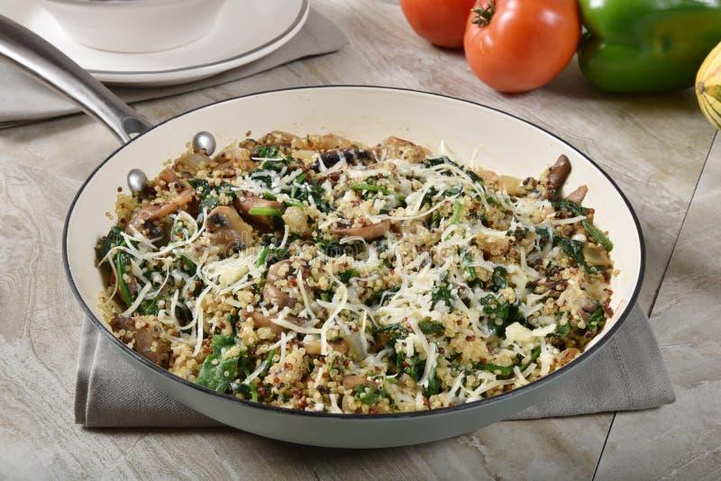 Καυτή quinoa σπανακιού σαλάτα σε ένα skillet στοκ φωτογραφία με δικαίωμα ελεύθερης χρήσης
