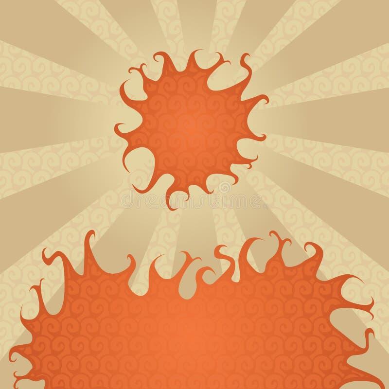 καυτός ήλιος πυρκαγιάς διανυσματική απεικόνιση