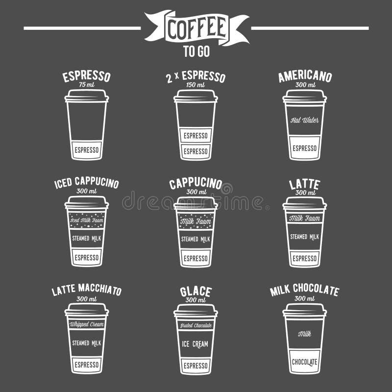 Καυτός καφές για να πάει εικονίδια συνταγών ποτών καθορισμένα διανυσματική απεικόνιση