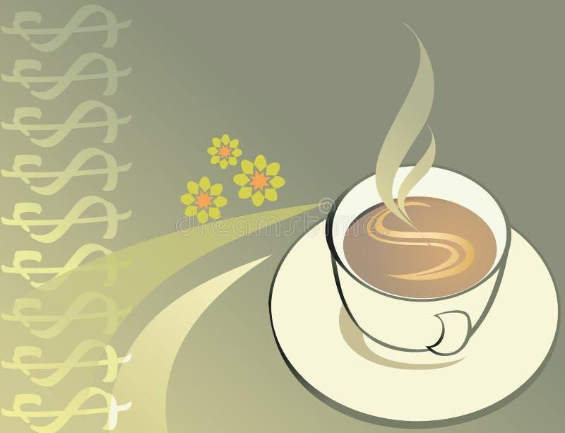Καυτός καφές δολαρίων διανυσματική απεικόνιση