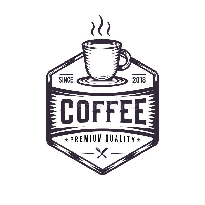 Καυτός καφές και αναδρομική απεικόνιση Croissant, εκλεκτής ποιότητας λογότυπο για μια καφετερία με τα φασόλια καφέ δίπλα σε το Πρ απεικόνιση αποθεμάτων