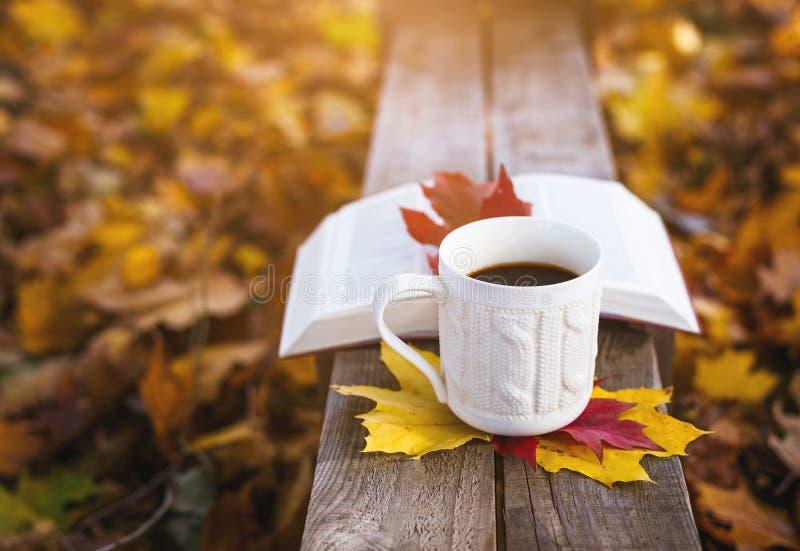 Καυτός καφές και κόκκινο βιβλίο με τα φύλλα φθινοπώρου στο ξύλινο υπόβαθρο - εποχιακό χαλαρώστε την έννοια στοκ φωτογραφίες με δικαίωμα ελεύθερης χρήσης