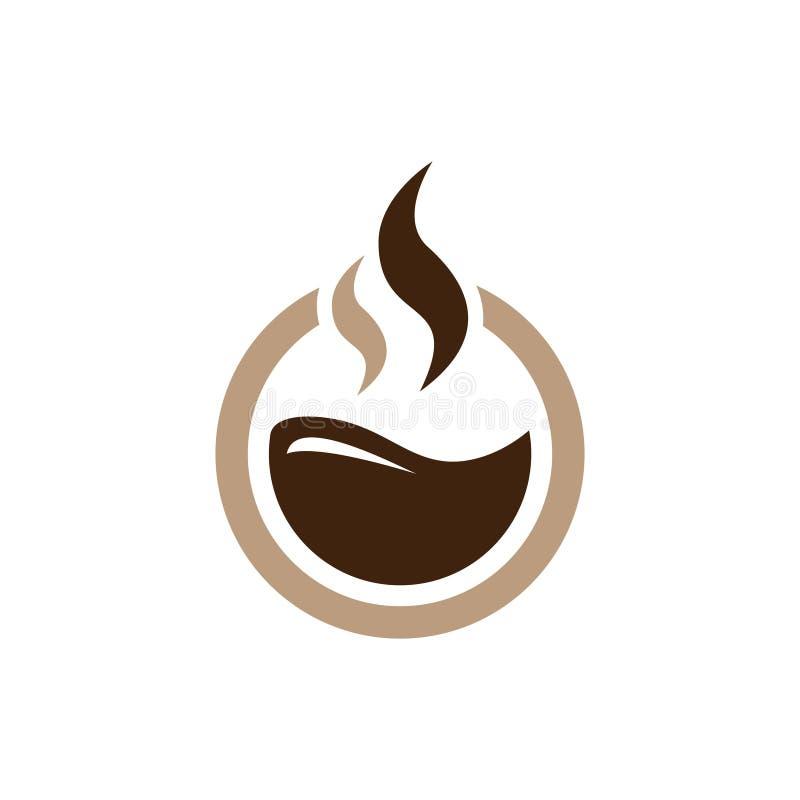 Καυτός καφές κύκλων - απλό σύμβολο εικονιδίων λογότυπων σοκολάτας απεικόνιση αποθεμάτων