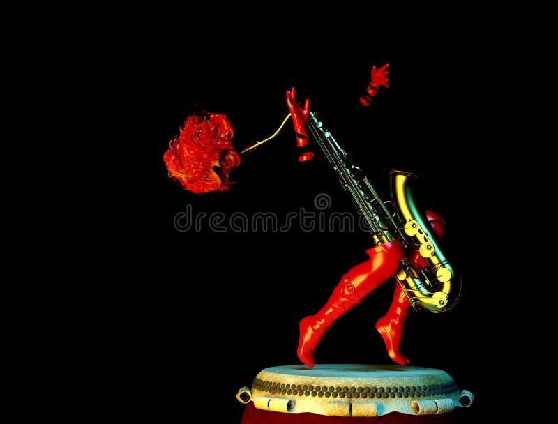 Καυτός μουσικός Saxophone απεικόνιση αποθεμάτων