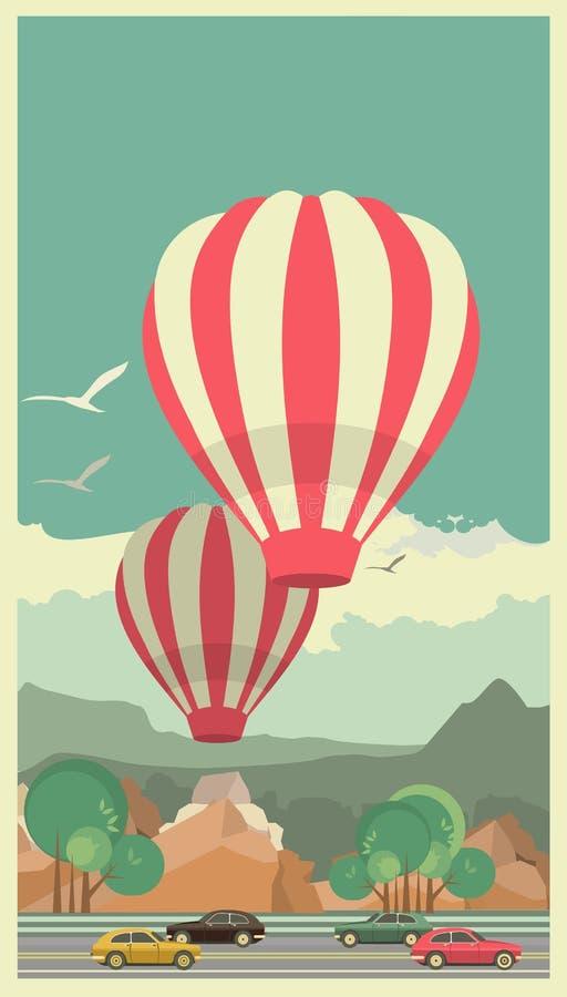 καυτός ουρανός μπαλονιών αέρα απεικόνιση αποθεμάτων