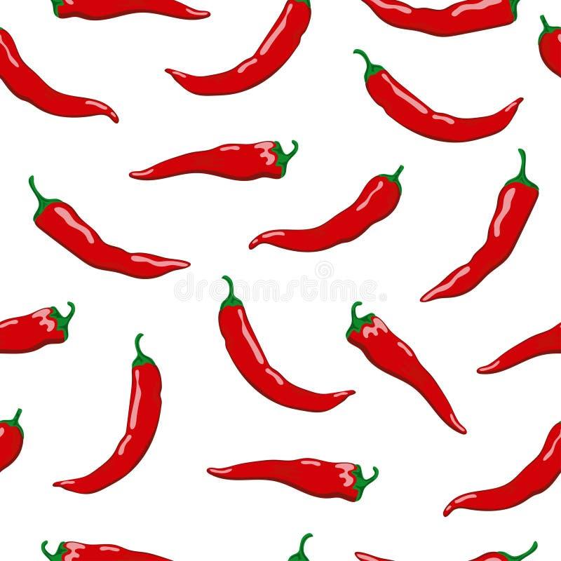 Καυτό άνευ ραφής σχέδιο πιπεριών τσίλι Φωτεινά κόκκινα πιπέρια στο άσπρο υπόβαθρο ελεύθερη απεικόνιση δικαιώματος