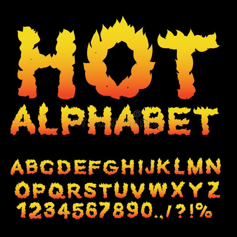 Καυτό αλφάβητο Πηγή φλογών φλογερές επιστολές Κάψιμο ABC Πυρκαγιά typog ελεύθερη απεικόνιση δικαιώματος