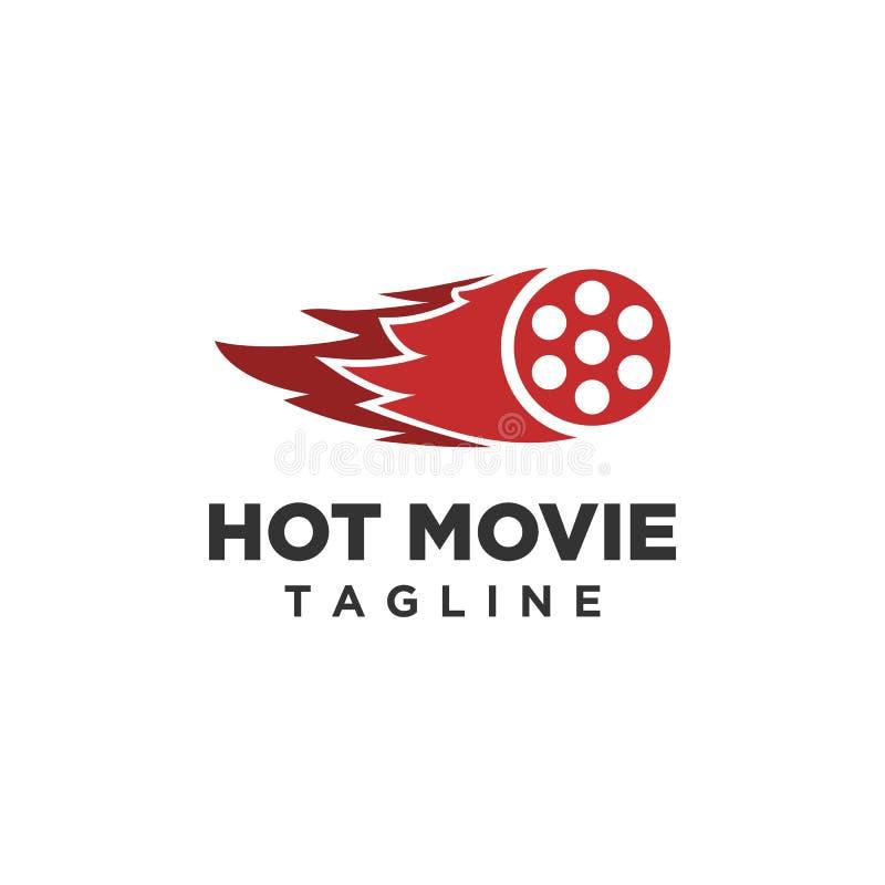 Καυτό διάνυσμα σχεδίου λογότυπων κινηματογράφων απεικόνιση αποθεμάτων