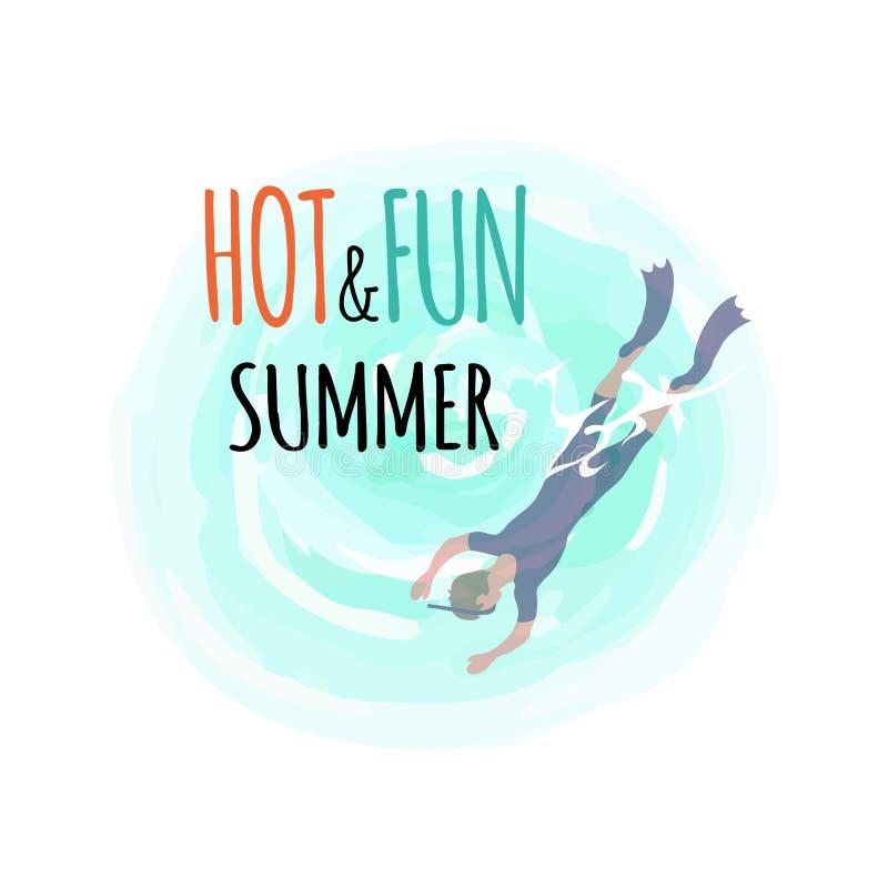 Καυτό και καλοκαίρι διασκέδασης, δύτης στα βατραχοπέδιλα και κατάδυση μασκών διανυσματική απεικόνιση