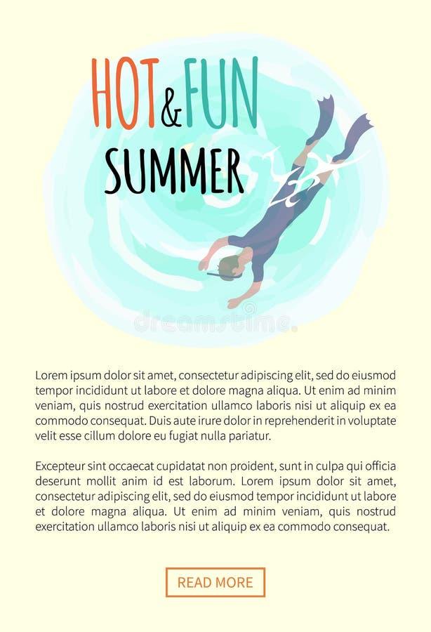 Καυτό και καλοκαίρι διασκέδασης, δύτης στα βατραχοπέδιλα και κατάδυση μασκών ελεύθερη απεικόνιση δικαιώματος
