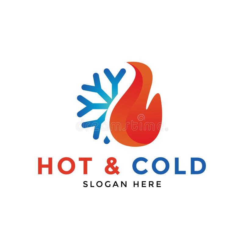 Καυτό και κρύο διάνυσμα προτύπων σχεδίου εικονιδίων λογότυπων διανυσματική απεικόνιση