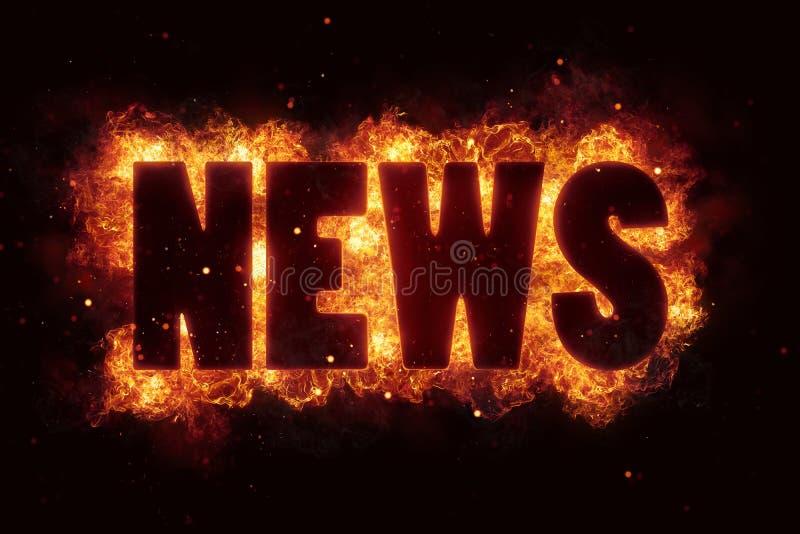 Καυτό κείμενο παγκόσμιων ειδήσεων στο κάψιμο έκρηξης φλογών πυρκαγιάς διανυσματική απεικόνιση