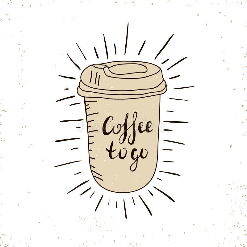 Καυτό προϊόν μίας χρήσης καφέ για να πάει φλυτζάνι με τα καπάκια και το κείμενο - καφές να πάει απομονωμένος σε ένα λευκό συρμένο διανυσματική απεικόνιση