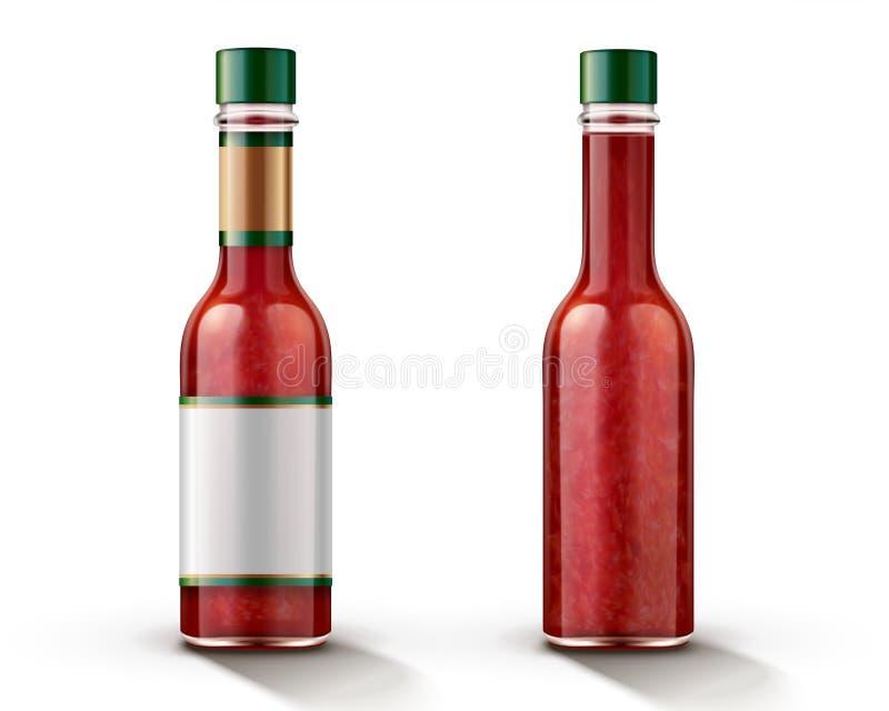 Καυτό πρότυπο μπουκαλιών σάλτσας τσίλι απεικόνιση αποθεμάτων