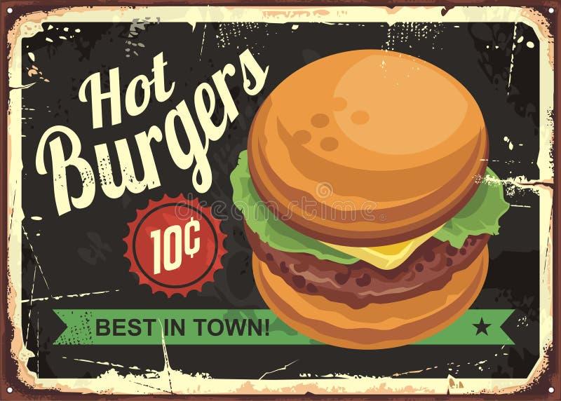 Καυτό σχέδιο σημαδιών κασσίτερου burgers αναδρομικό απεικόνιση αποθεμάτων