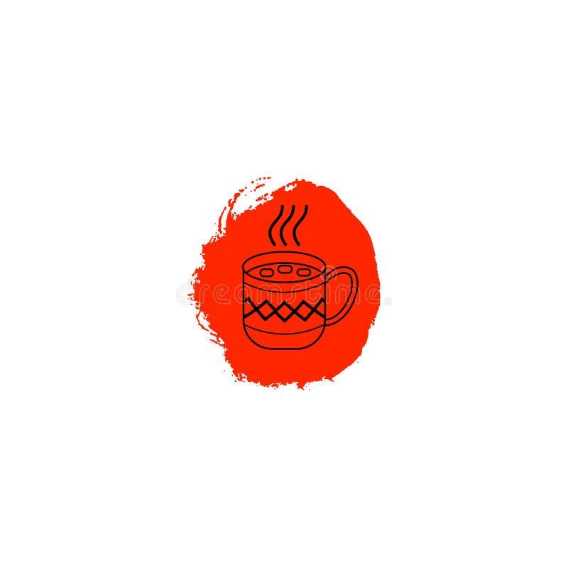 Καυτό φλυτζάνι σοκολάτας με τη διακόσμηση και marshmallows Φλυτζάνι του εικονιδίου κακάου στον κόκκινο λεκέ μελανιού Στοιχείο σχε απεικόνιση αποθεμάτων