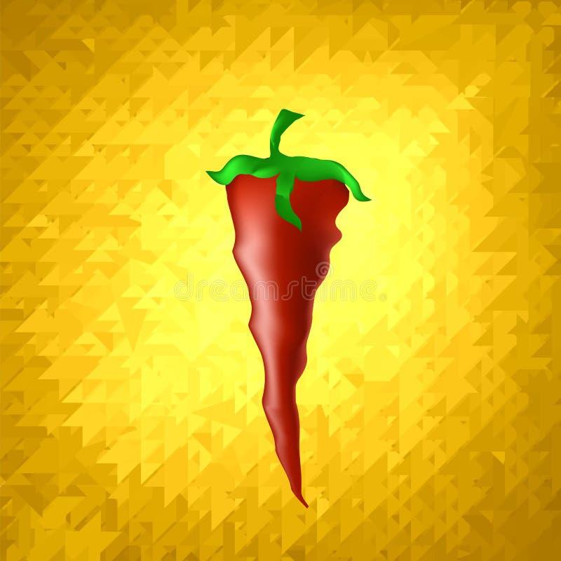 Καυτό ώριμο φρέσκο κόκκινο πιπέρι στο υπόβαθρο κίτρινων μωσαϊκών διανυσματική απεικόνιση