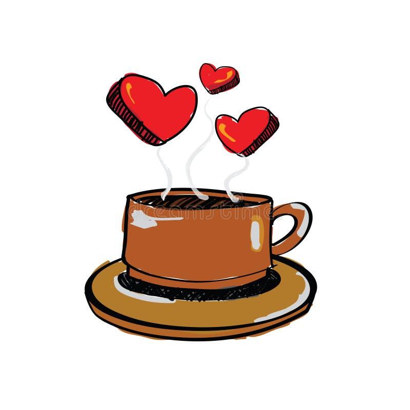 Καφές αγάπης σχεδίων σκίτσων διανυσματική απεικόνιση