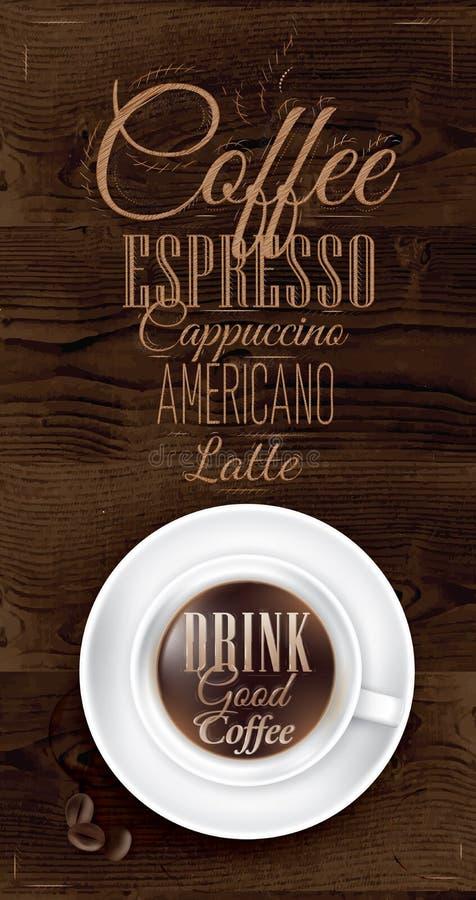 Καφές αφισών. Σκοτεινό καφετί ξύλινο χρώμα. διανυσματική απεικόνιση