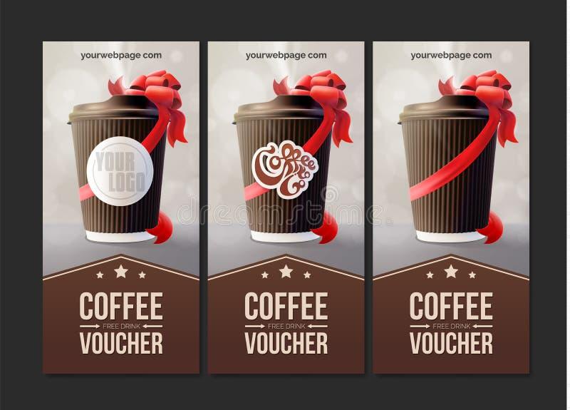 Καφές για να πάει αποδείξεις Φλυτζάνι κυματισμών καφέ με μια κόκκινη κορδέλλα eps10 να γεμίσει προτύπων λουλουδιών πορτοκαλιά rac στοκ εικόνες