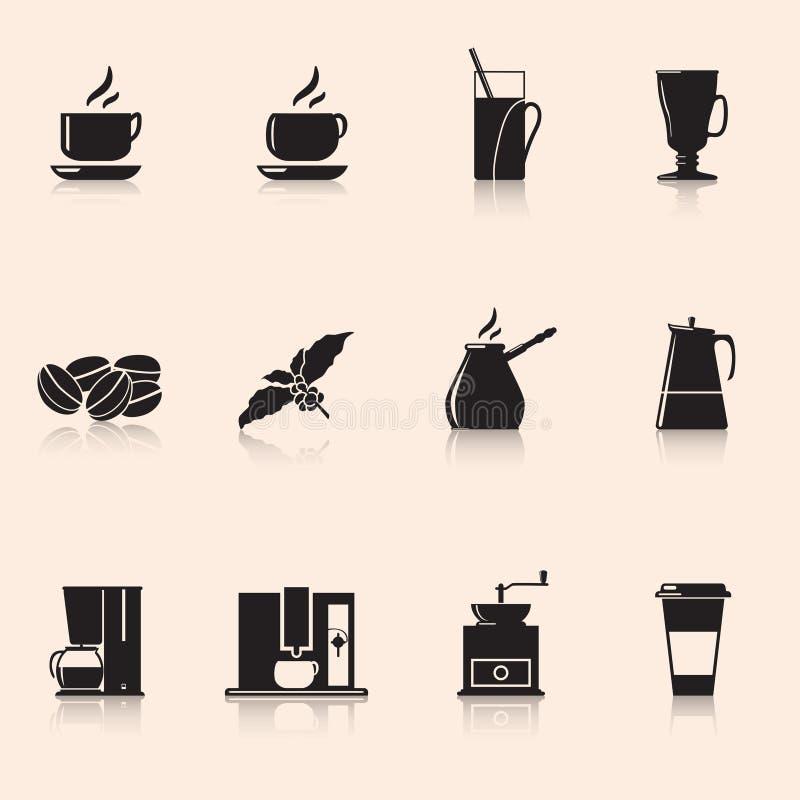 Καφές εικονιδίων: μύλος καφέ, κούπα, σιτάρια καφέ διανυσματική απεικόνιση
