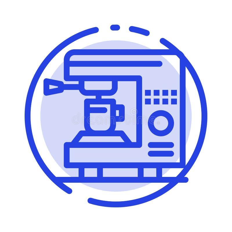 Καφές, ηλεκτρικός, σπίτι, μπλε εικονίδιο γραμμών διαστιγμένων γραμμών μηχανών διανυσματική απεικόνιση