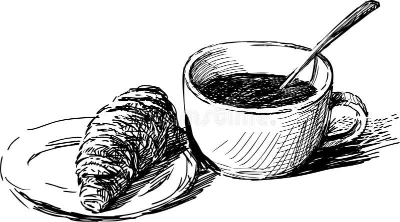 Καφές και ένας croissant ελεύθερη απεικόνιση δικαιώματος