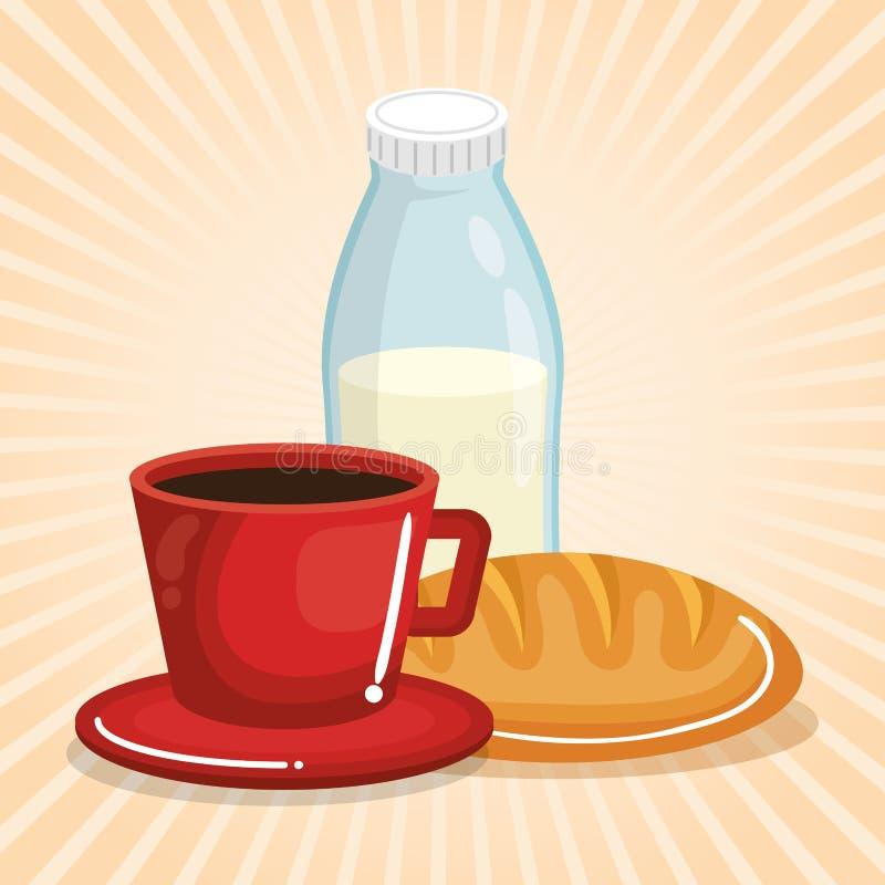 Καφές και γάλα με το ψωμί ελεύθερη απεικόνιση δικαιώματος
